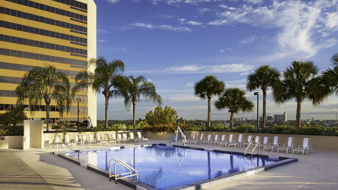 Relax poolside when visiting downtown Orlando,  Florida.