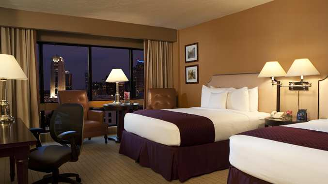 Double beds at the DoubleTree Orlando Downtown hotel.